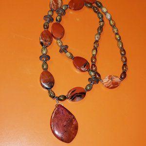 Unisex River Jasper Stone Necklace